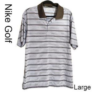 Nike Men's Golf Dri-Fit Striped Polo Lg